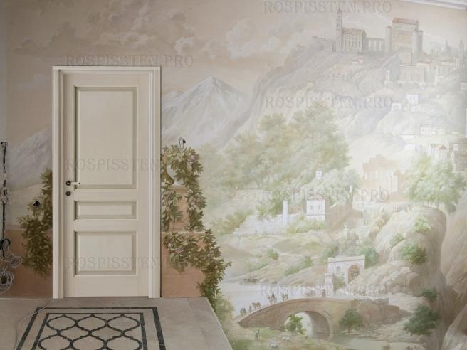 фреска-на-стене-с-дверью