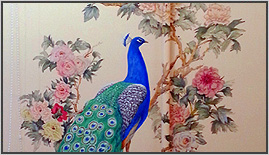роспись-стен-офиса-цветы-павлин
