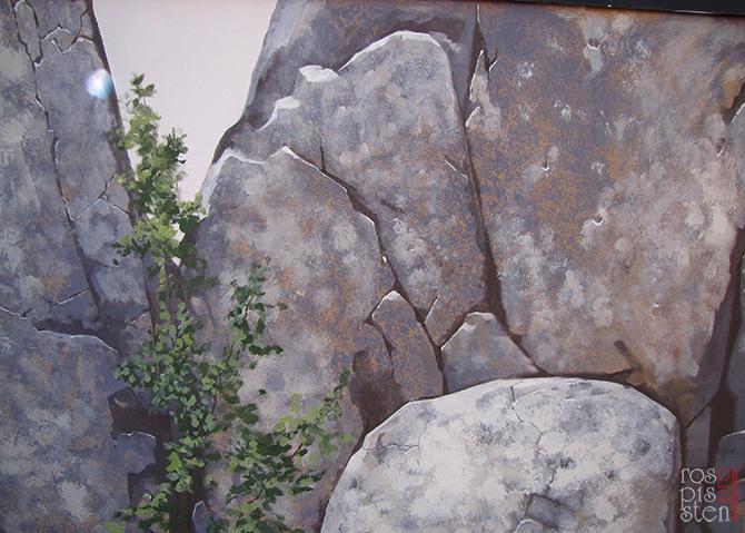 внешняя роспись стены , скалы, березка в скалах