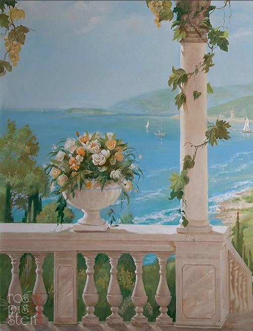 итальянский пейзаж , фрагмент, цветы ...