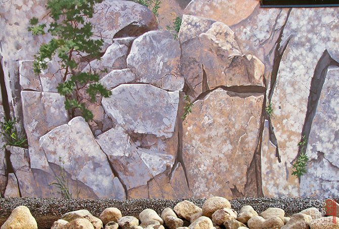 наружняя роспись стен, скалы, сосна