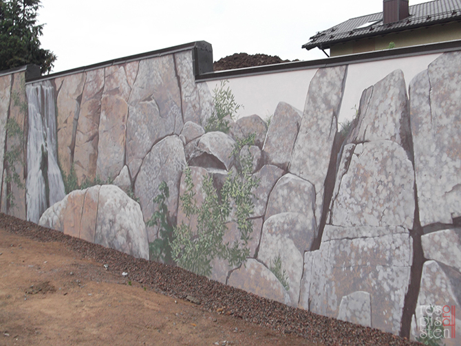 роспись экстерьера, скалы, камни,водопад