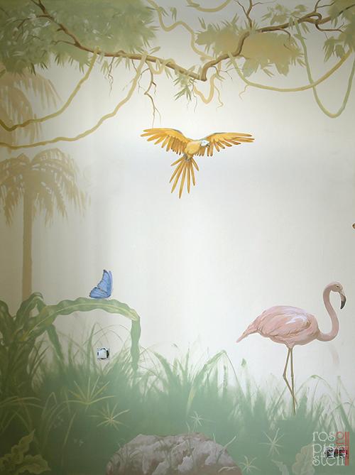 роспись детской комнаты, попугай, лианы