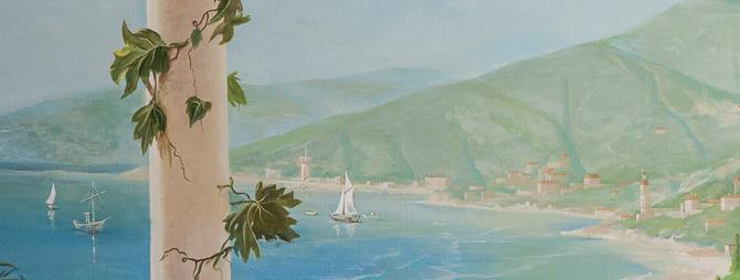роспись итальянский пейзаж. фрагмент. море и горы
