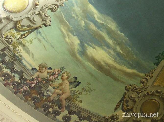 роспись стен классического интерьера