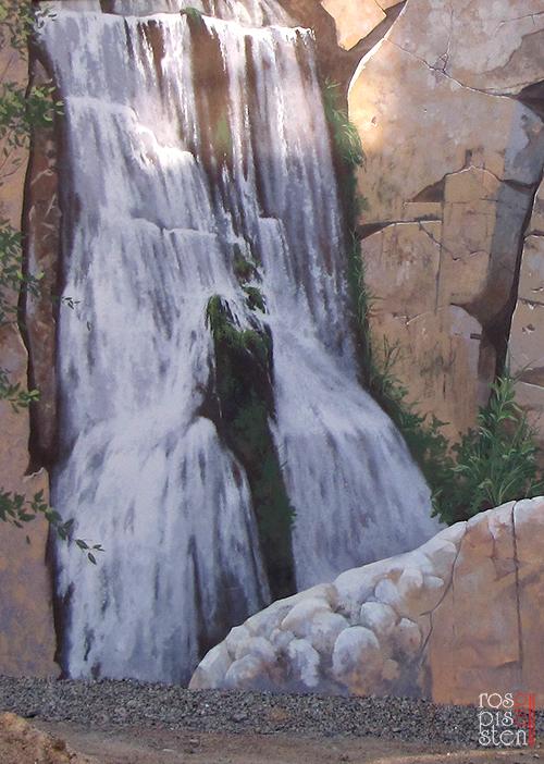 роспись стен, водопад, скалы