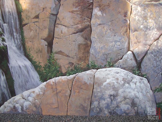 роспись стены загородной усадьбы ,скалы, водопад