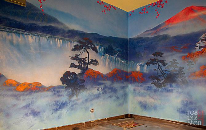 роспись ресторана,роспись стены ,японский мотив