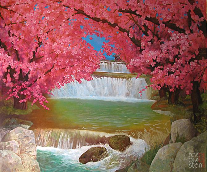 роспись ресторана, цветы сакуры, водопад