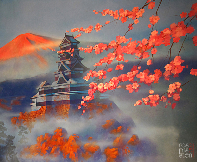 роспись ресторана, пагода , сакура, фудзияма
