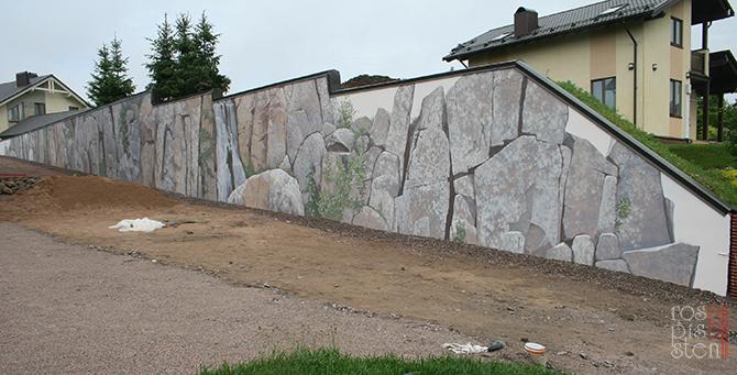 роспись экстерьера, природные мотивы , скалы, водопад