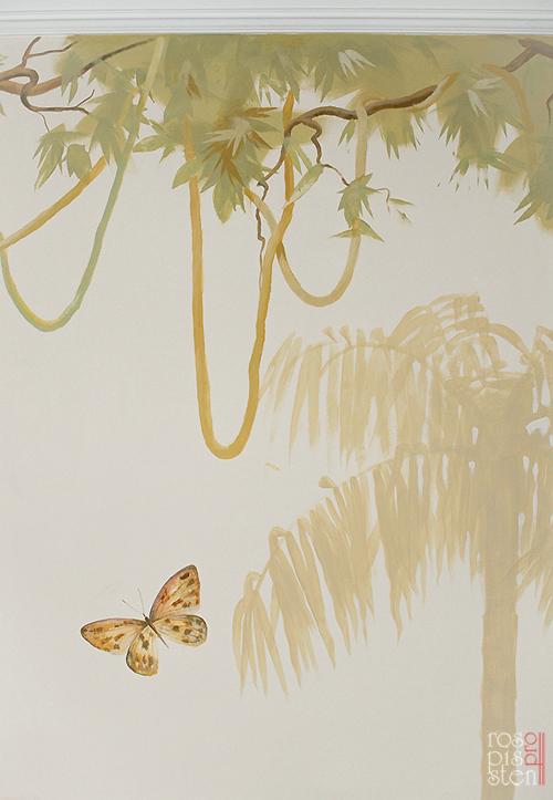 роспись детской комнаты, лианы, бабочка