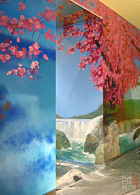 роспись ресторана, цветущая сакура