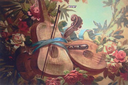 фрагмент-росписи-с-музыкальными-инструментами