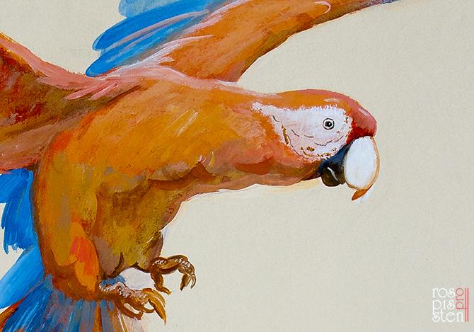 роспись детской комнаты, попугай