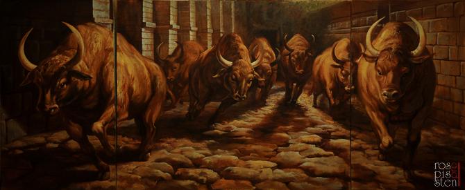 """Картина """"Бег быков""""."""
