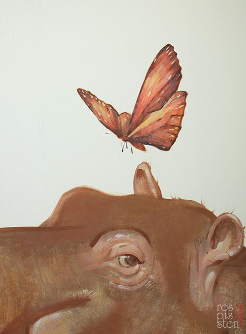 роспись детской, бегемот и бабочка
