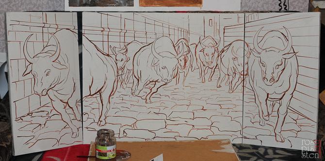 """картина """"Бег быков"""" - прорисовка"""