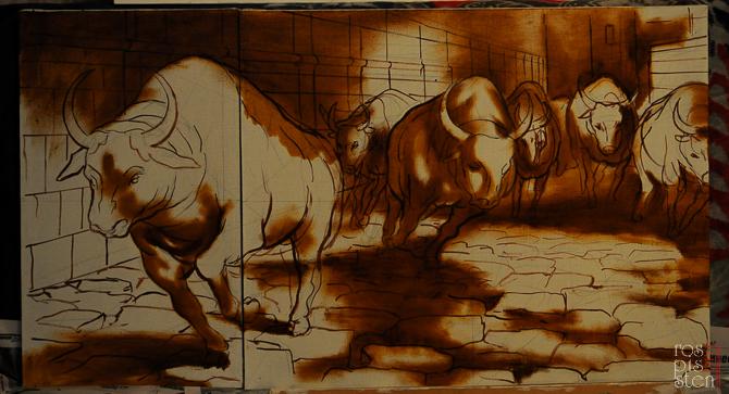 """Картина """"Бег быков""""- начало работы"""