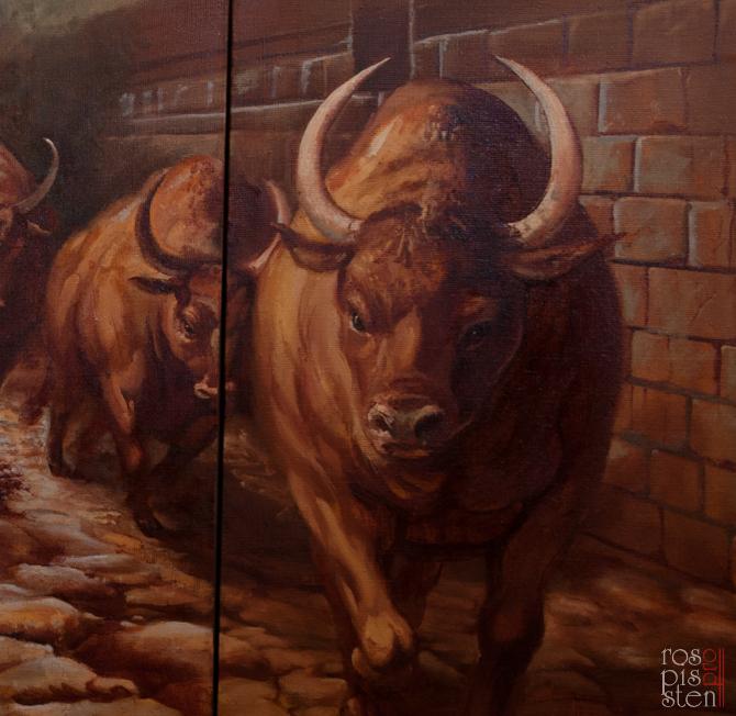 "Картина ""Бег быков"" фрагмент"