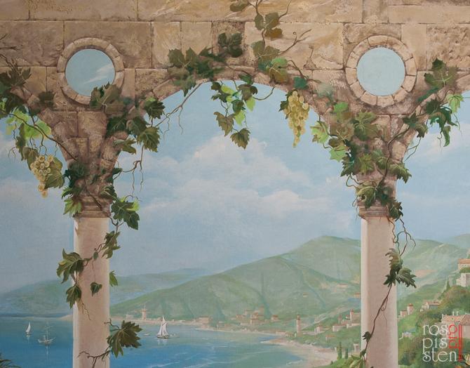 арки, листья винограда, роспись на холсте