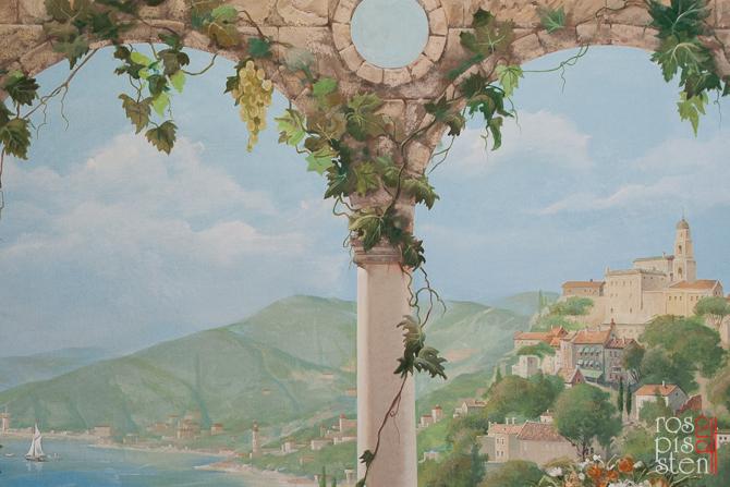 итальянский пейзаж, роспись на холсте