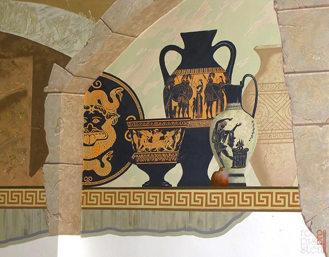 роспись стены в греческом стиле. фрагмент