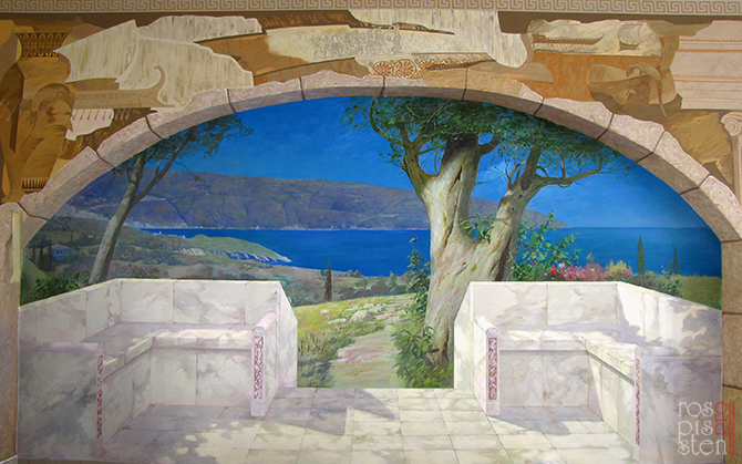 роспись стены пейзаж