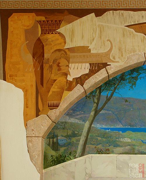 роспись стены фрагмент пейзажа
