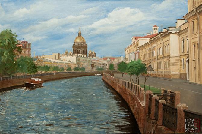 Исаакивский Собор, пейзаж Санкт-Петербург, холст, масло, Юрий Шелыгов