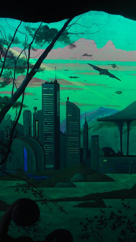 роспись светящимися красками небоскребы