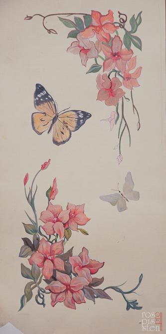 роспись мебели цветами и бабочками