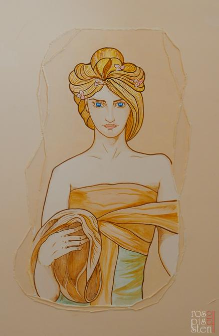 рисунок на стене Альфонс Муха