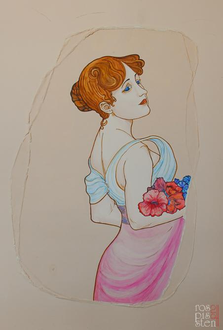 рисунок на штукатурке стен картины Альфонса Мухи