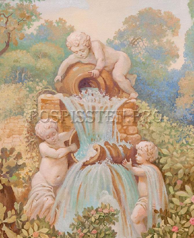роспись ванной комнаты - фонтан с ангелочками
