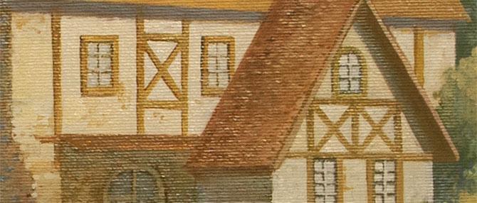 роспись на холсте - крупная деталь