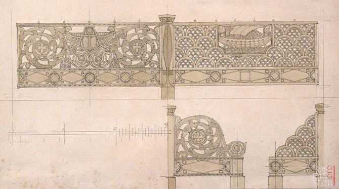 рисунок ограды для Морского собора в Кронштадте