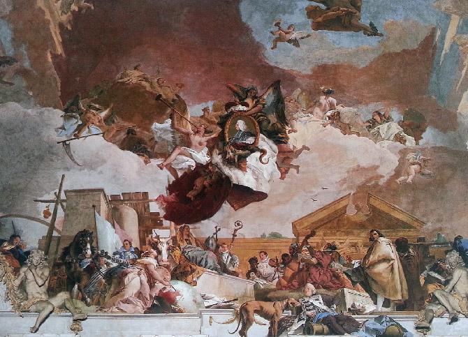 сложная роспись потолка