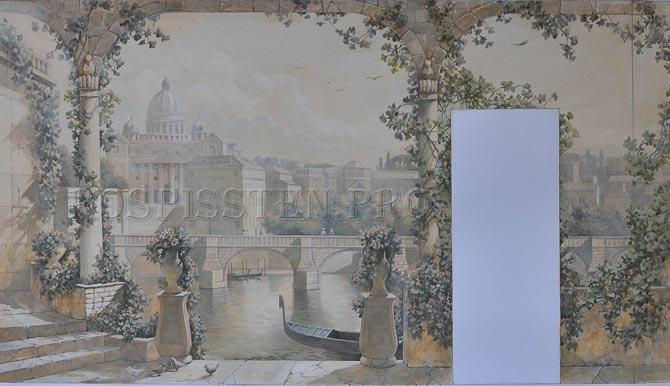 эскиз для росписи стены - вид Венеции