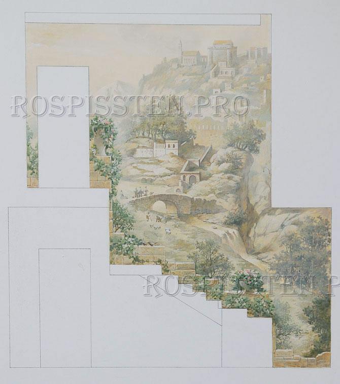 эскиз для росписи стены акрилом