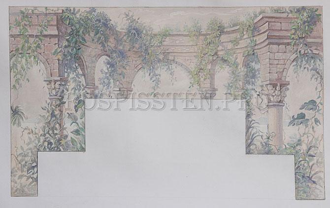 роспись спальни - колонны, арки листья