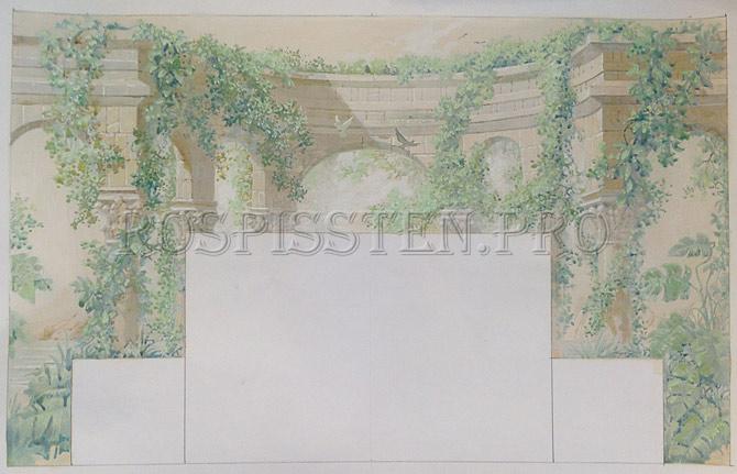 эскиз росписи спальни акрилом - колоннада и листья