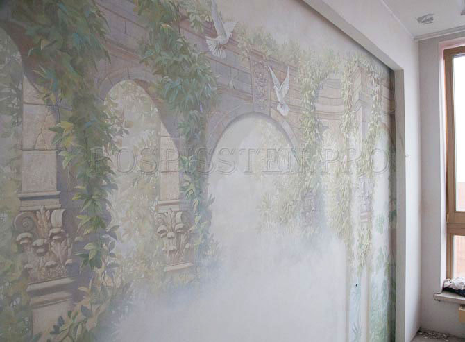 роспись стен спальни