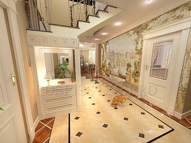 проект гостиной с росписью на сюжет пейзажа Венеции