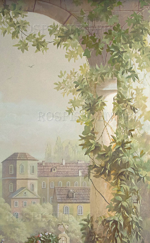 фрагмент росписи стен: колонна, увитая зеленью