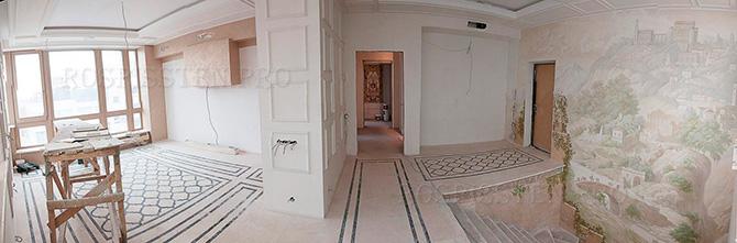 процесс работы над оформлением помещения росписью