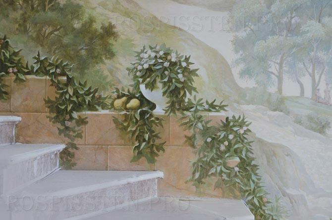 роспись квартиры- каменная стена и вазы с фруктами