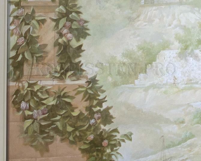 фреска с вазой и букетом