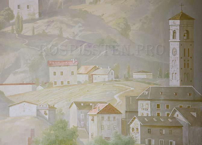 детали росписи стены: вид Италии