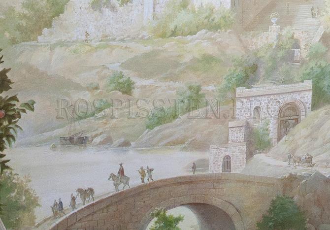 фреска на стене- многоплановый пейзаж